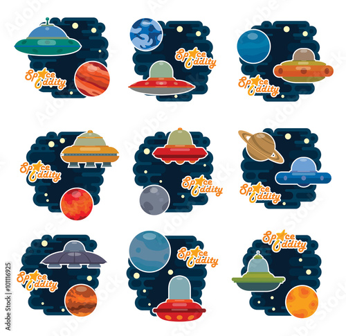 Vector set of emblems with spaceships and different planets of solar system: Mercury, Venus, Earth, Mars, Jupiter, Saturn, Uran, Neptun, Pluton and lettering Space Oddity on a light background Canvas-taulu
