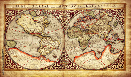 Fotografiet Old map of the world, printed in 1587