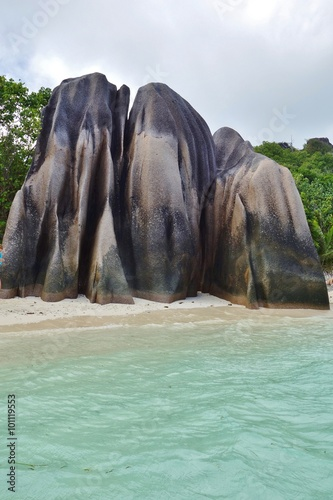 Fotografie, Obraz  The Anse Source d'Argent beach with its granite boulders on La Digue Island in t