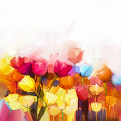 Fototapeta Tulipany Oil painting yellow, pink and red Tulips flowers field. Landscape - Flowers in meadow at daylight with soft color background. Spring flowers nature background