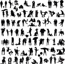 Set Of Silhouettes Of Couples ...