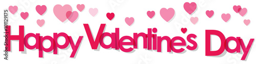 Valentine's Day Banner with pink Letters and Hearts on a white background Wallpaper Mural