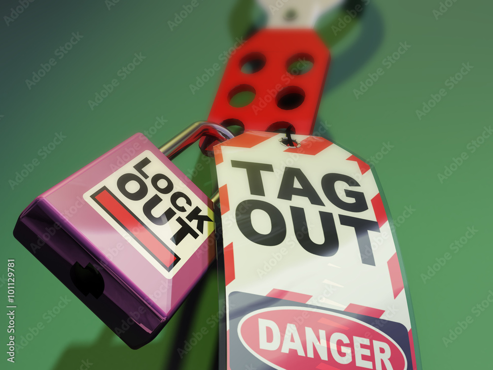 Fototapety, obrazy: Lockout Tagout. Safety Measures used to secure equipment while under repair, inspection or out of service
