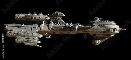 Photo  Interstellar Escort Frigate Spaceship, side view - science fiction illustration
