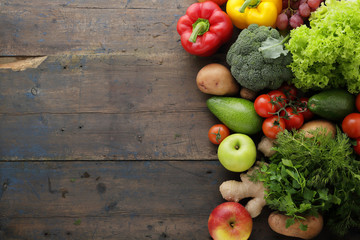 vegetables and fruits rustic background