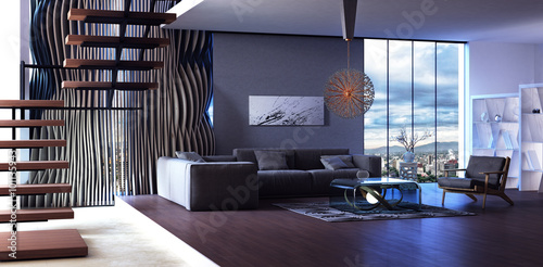 Fotografija  Modern interior design of living room (3d Render)