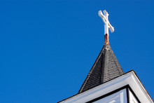 Church Steeple With Blue Sky A...