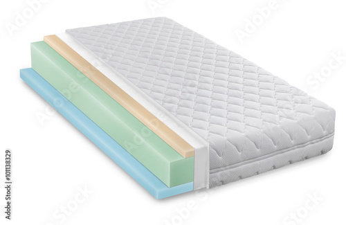 Fotografie, Obraz  Memory foam - latex mattress cross section  photo illustration -
