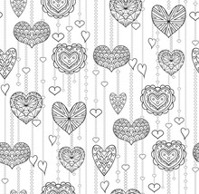 Seamless Black And White Texture With Hanging Doodle Hearts