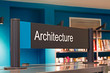 Architecture section sign inside a modern public library