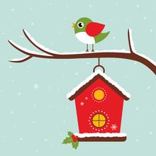 Winter Bird House And Bird On A Branch