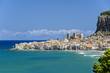 View of Cefalu with beach and castle