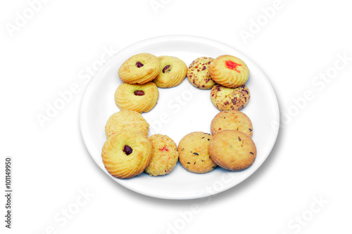 Fotografie, Obraz  Biscuits in plate isolated on white background