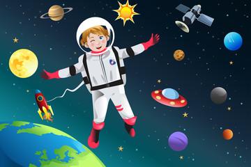 Fototapeta samoprzylepna Girl Dressed Up as Astronaut