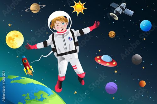 Fotografie, Obraz  Girl Dressed Up as Astronaut