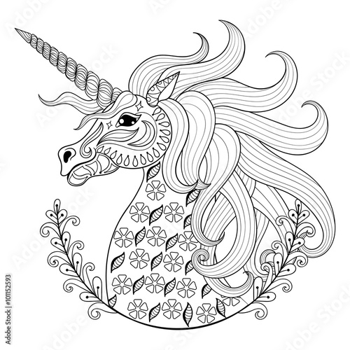 Fotografie, Obraz  Hand drawing Unicorn for adult anti stress coloring pages, artis