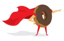 Donut Super Hero Leading The Way To Breakfast