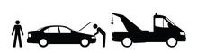 Silhouette Broken Down Car And Breakdown Truck
