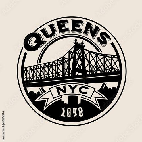 Fototapeta vintage t-shirt sticker emblem design. Queens, New York City and Queensboro Bridge