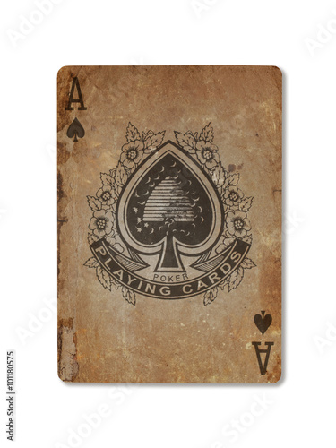 Photo  Very old playing card, ace of spades