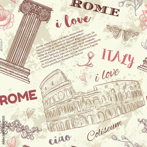 rzym-vintage-wzor-z-koloseum-klasyczny-styl-kolumny-kwiaty-i-tekst-na-tlo-grunge-retro-recznie-rysowane-ilustracji-wektorow