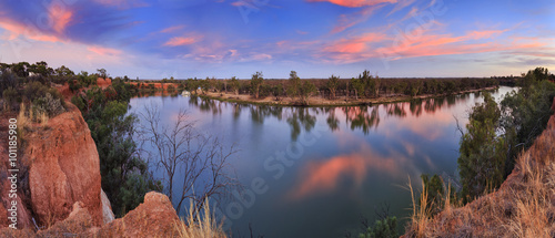 Foto auf Leinwand Fluss VIC Murray Red cliffs panorama
