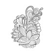 Zentangle floral pattern. Hand-drawn design element. Doodle art flowers. Zentangle floral pattern.