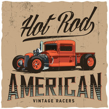 Hot Rod American Vintage Racers Label Design For T-shirt, Posters, Greeting Cards Etc.
