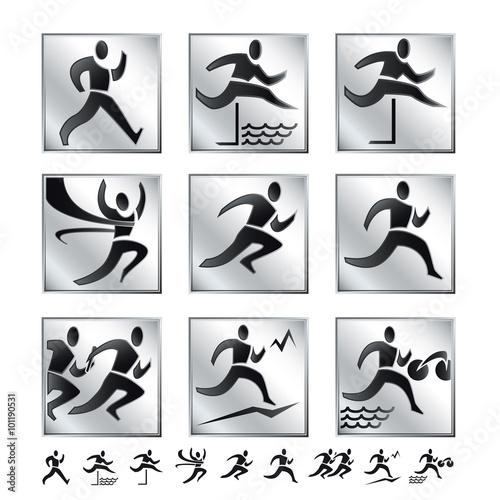 Olympische Spiele 3 Sommer Sportarten Piktogramme Silber Laufsport Stock Vector Adobe Stock