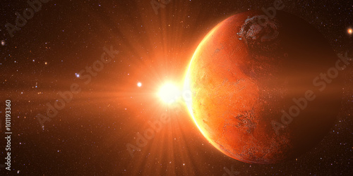 фотографія  The Mars sunrise shot from space showing all they beauty