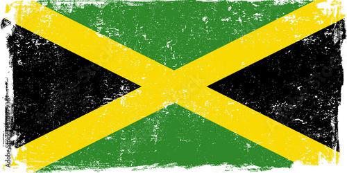 Jamaica Vector Flag on White Wallpaper Mural