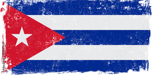 Photo  Cuba Vector Flag on White