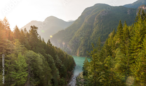 scene over Diablo lake when sunrise in the early morning in North cascade NP,WA,usa Canvas Print