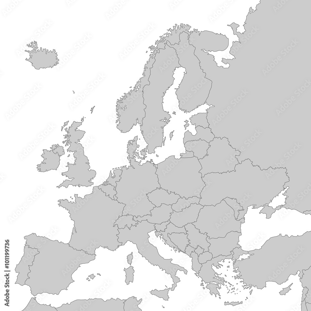 Fototapeta Kontinent Europa in Grau - Vektor