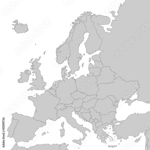 Kontinent Europa in Grau - Vektor Fototapete