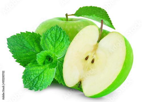 Fototapeta apple and mint isolated obraz