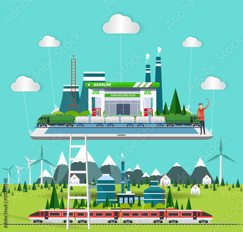 Wall Murals Green coral flat concept industrial comunication with train station, with ec