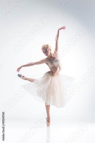 fototapeta na lodówkę The silhouette of ballerina on white background