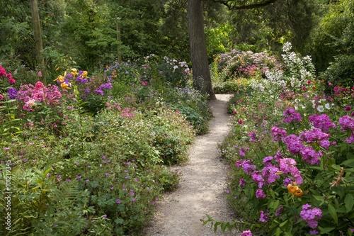 Aluminium Prints Garden Gravel path through English garden
