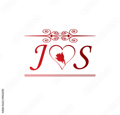 Js Love Initial With Red Heart And Rose Buy This Stock