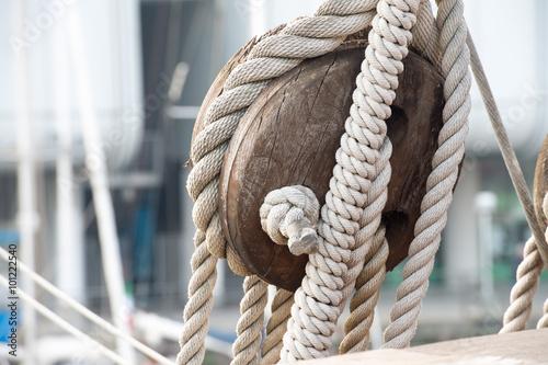 Photo sail ship shrouds detail on sky
