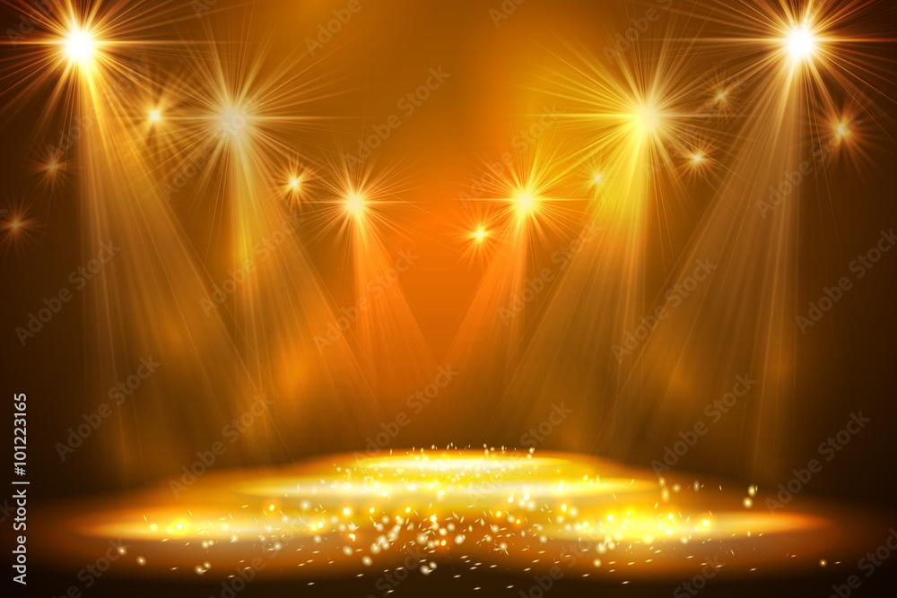 Fototapeta Spotlights on stage with smoke light.