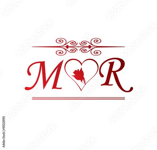 Mr Love Initial With Red Heart And Rose Buy This Stock Vector And