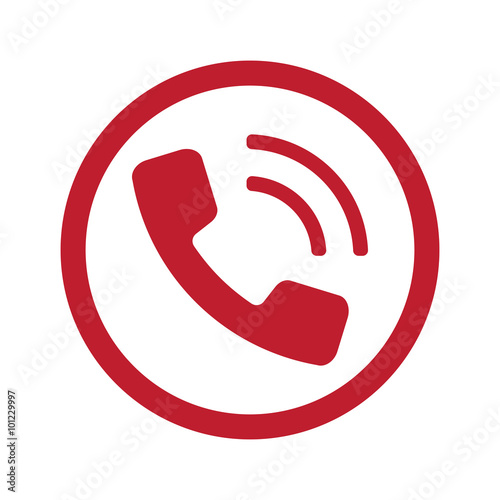 Flat red Phone icon in circle on white - Buy this stock