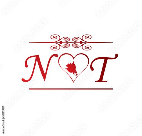 Nt Love Initial With Red Heart And Rose Stock Vector Adobe Stock Love as a 3d name wallpaper! nt love initial with red heart and rose
