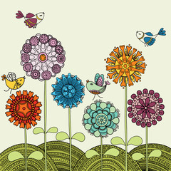 Colorful flowers and flying birds
