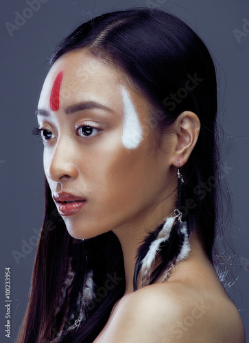 Fotomural beauty young asian girl with make up like Pocahontas, red indians woman fashion,