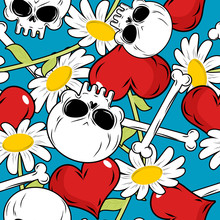 Skull And Love Seamless Patetrn. Red Heart And White Daisies. Fl