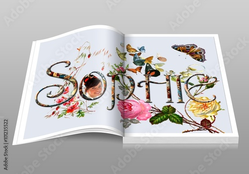 Digital book, Sophie Wallpaper Mural