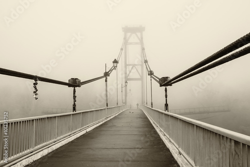 The bridge in the fog, black and white